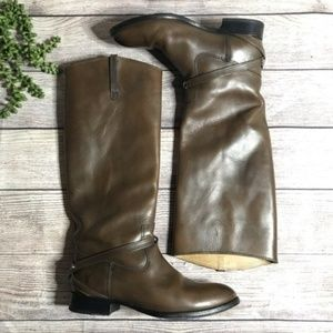 Frye Lindsay Brown Leather Knee High Tall Boot
